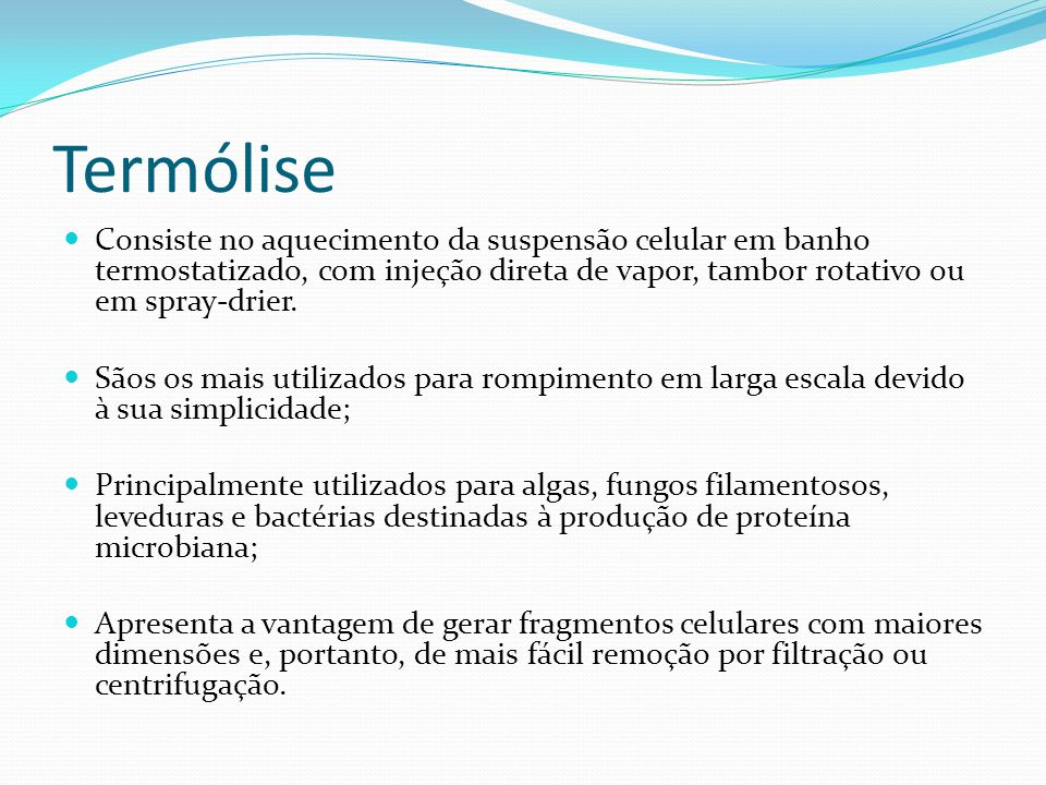 Termólise Consiste no aquecimento da suspensão celular em banho termostatizado, com injeção direta de vapor, tambor rotativo ou em spray-drier.