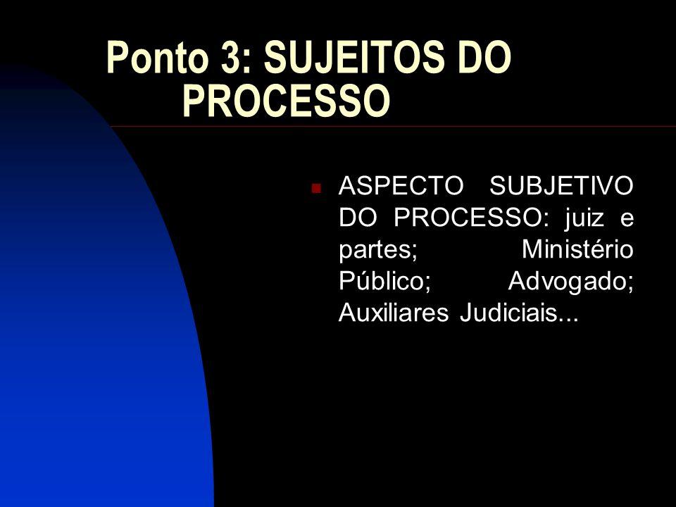 Ponto 3: SUJEITOS DO PROCESSO