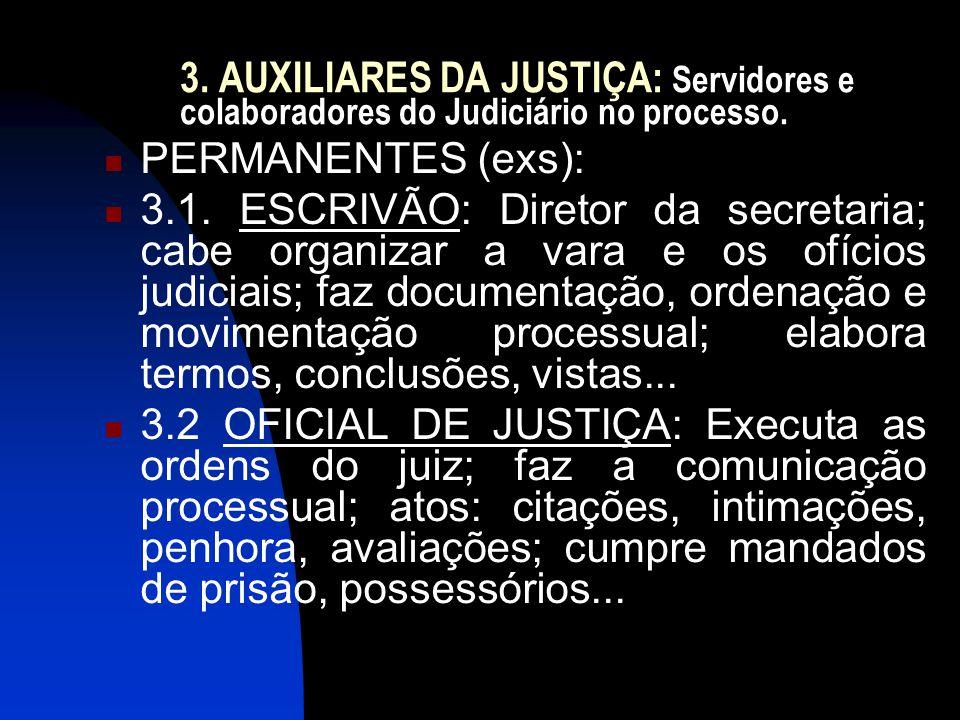 3. AUXILIARES DA JUSTIÇA: Servidores e colaboradores do Judiciário no processo.