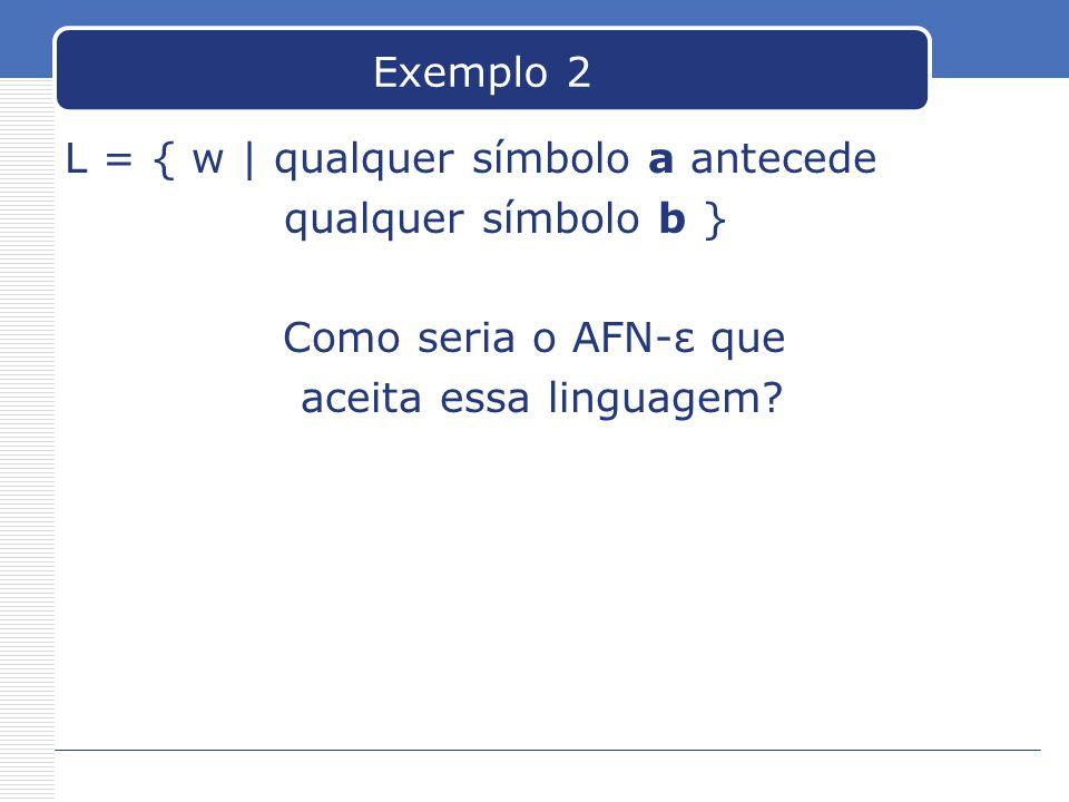 Exemplo 2 L = { w | qualquer símbolo a antecede. qualquer símbolo b } Como seria o AFN-ε que.