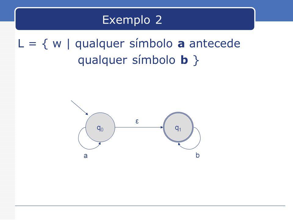 L = { w | qualquer símbolo a antecede qualquer símbolo b }