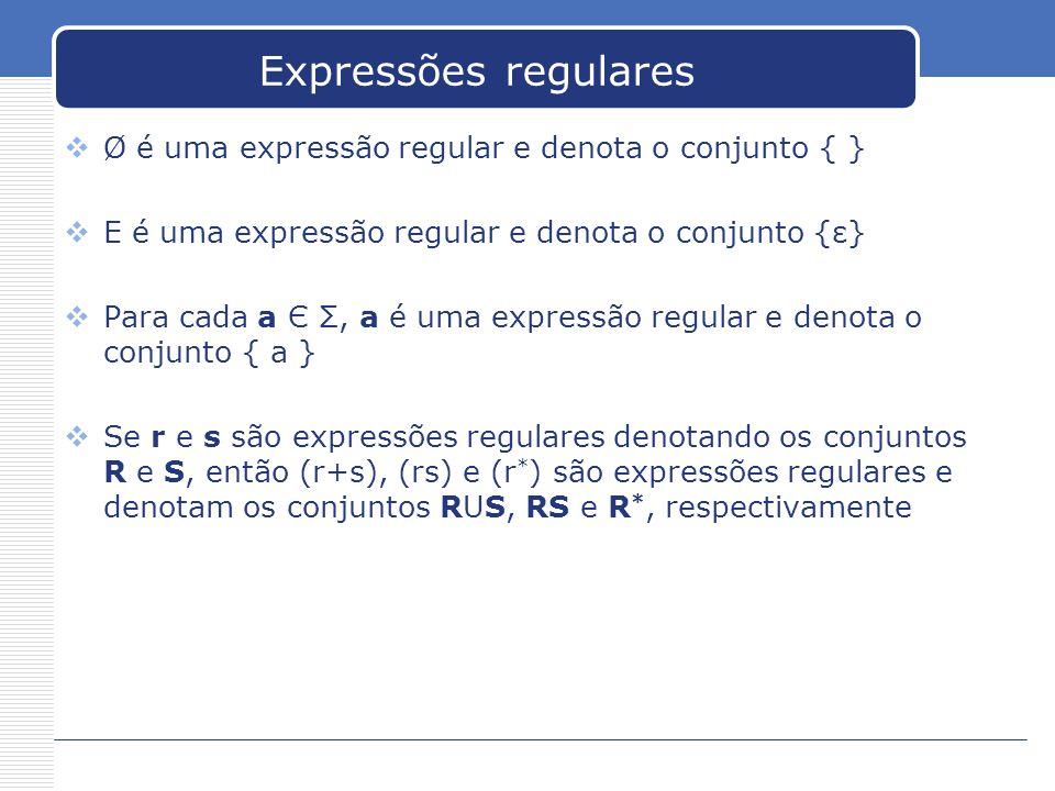 Expressões regulares Ø é uma expressão regular e denota o conjunto { }