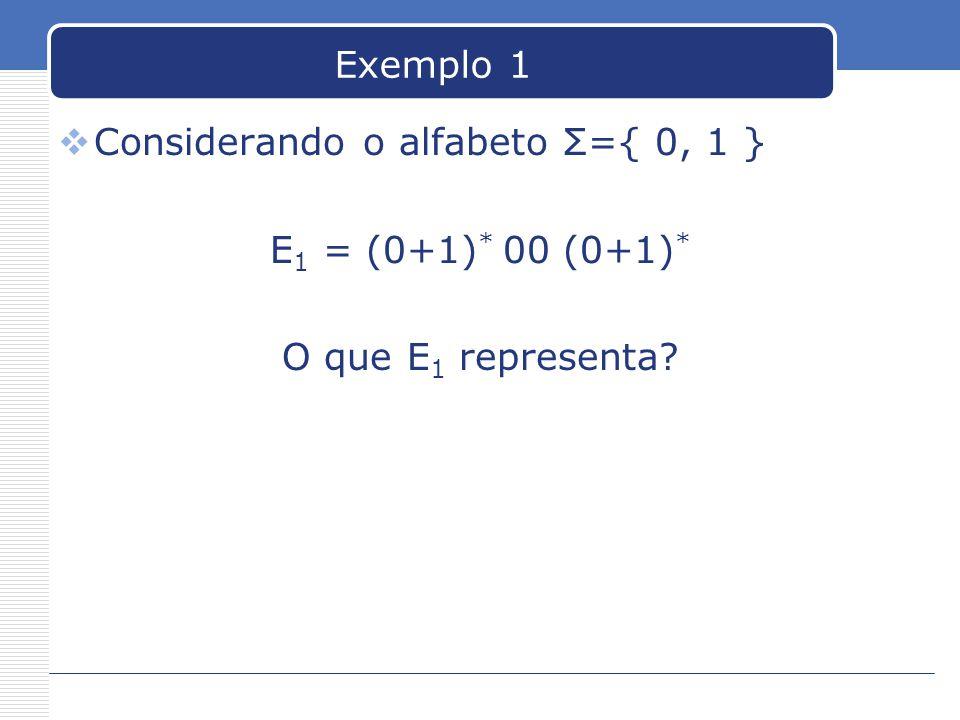 Exemplo 1 Considerando o alfabeto Σ={ 0, 1 } E1 = (0+1)* 00 (0+1)* O que E1 representa