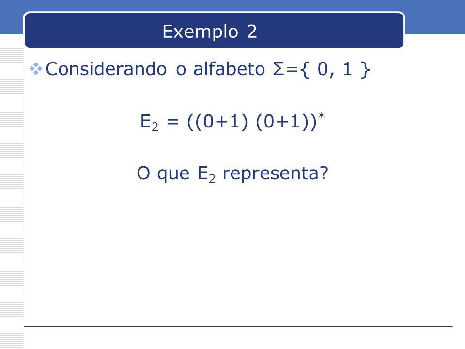 Exemplo 2 Considerando o alfabeto Σ={ 0, 1 } E2 = ((0+1) (0+1))* O que E2 representa