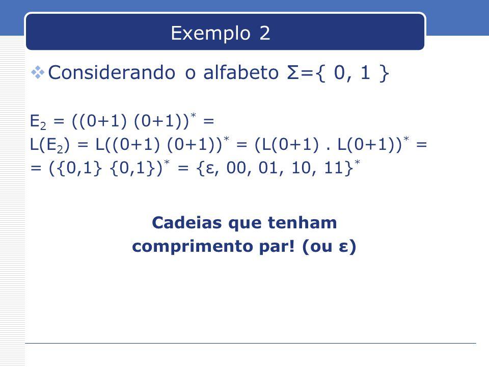Considerando o alfabeto Σ={ 0, 1 }