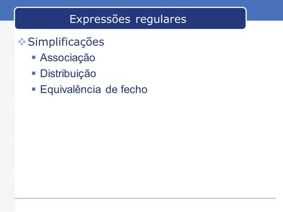 Expressões regulares Simplificações Associação Distribuição Equivalência de fecho