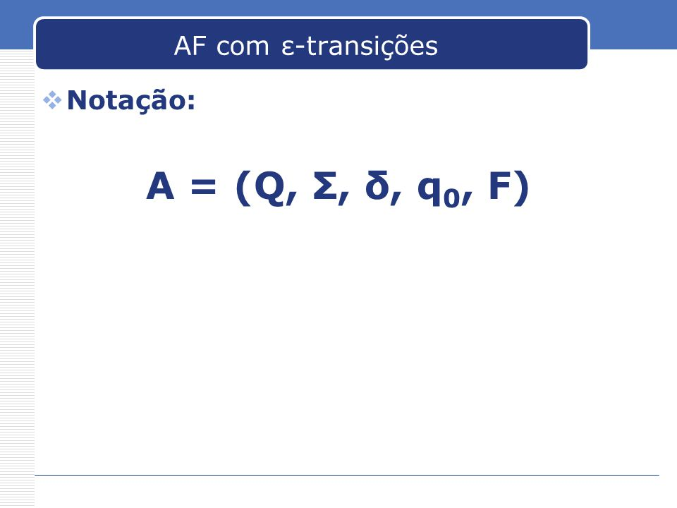 AF com ε-transições Notação: A = (Q, Σ, δ, q0, F)