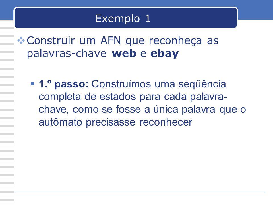 Exemplo 1 Construir um AFN que reconheça as palavras-chave web e ebay.