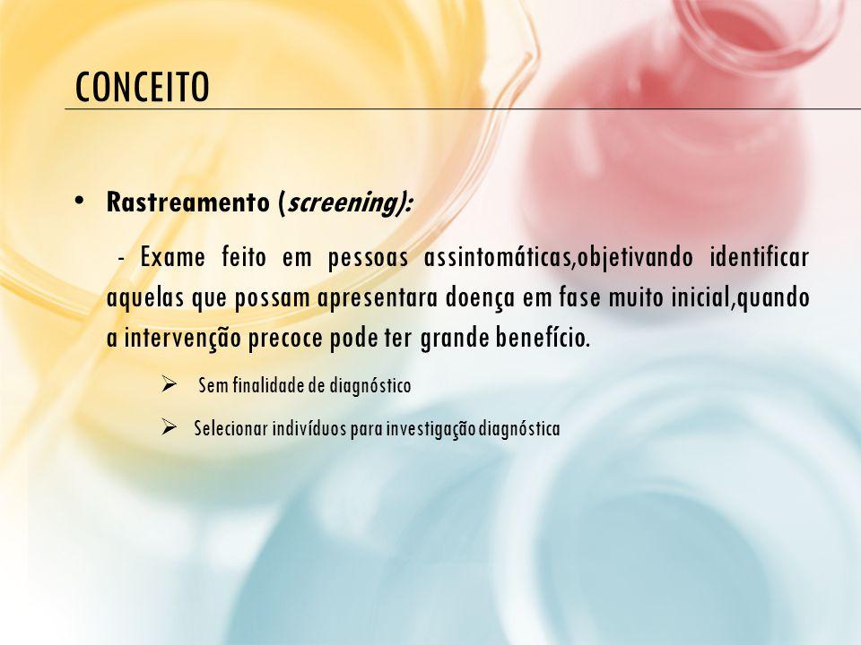 conceito Rastreamento (screening):
