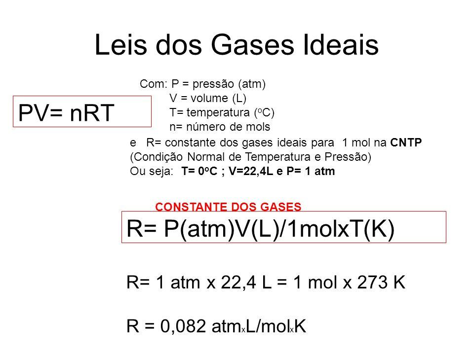 Leis dos Gases Ideais PV= nRT R= P(atm)V(L)/1molxT(K)