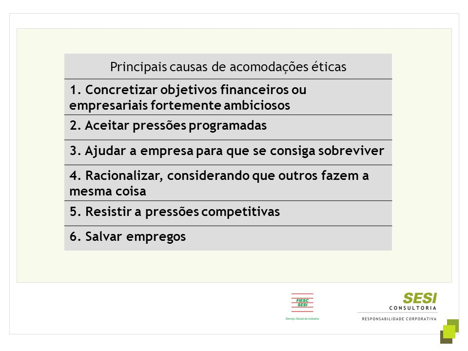 Principais causas de acomodações éticas