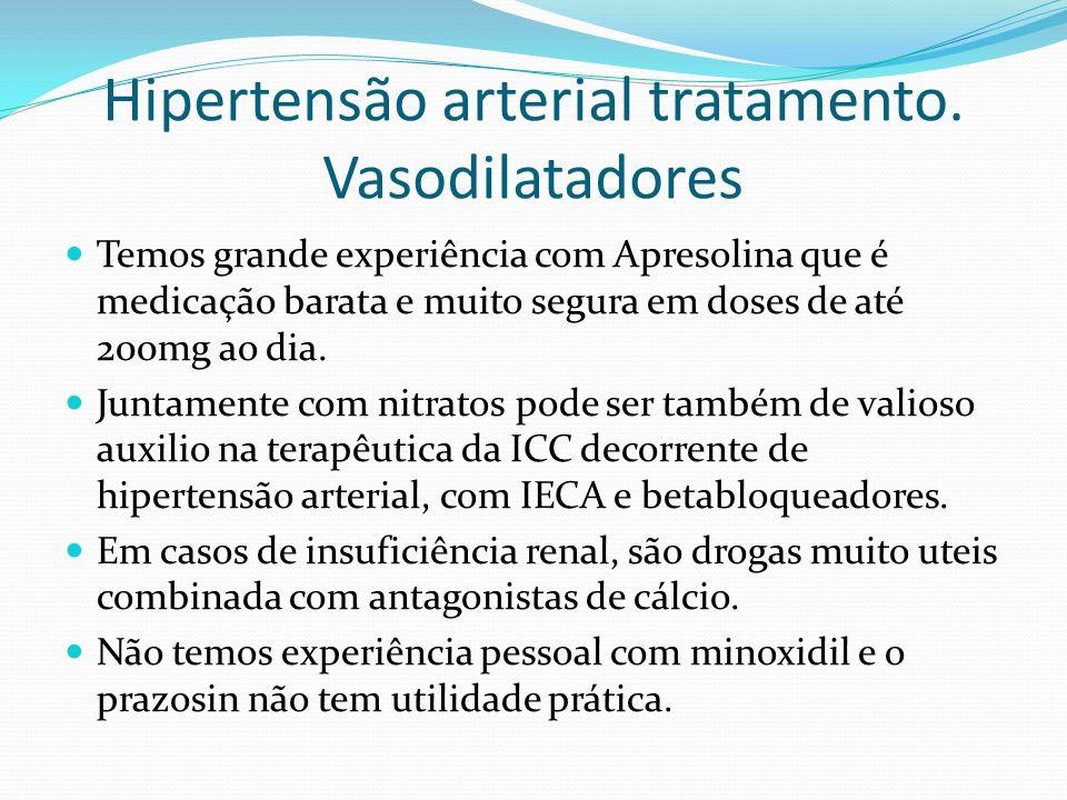 Hipertensão arterial tratamento. Vasodilatadores