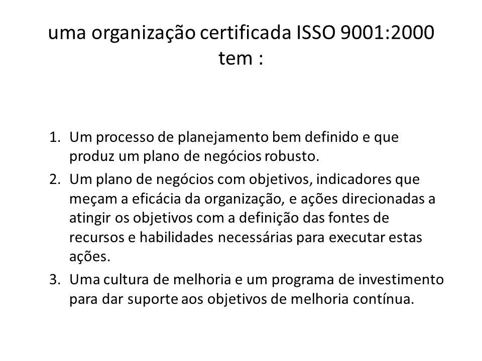 uma organização certificada ISSO 9001:2000 tem :