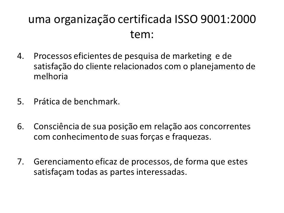 uma organização certificada ISSO 9001:2000 tem: