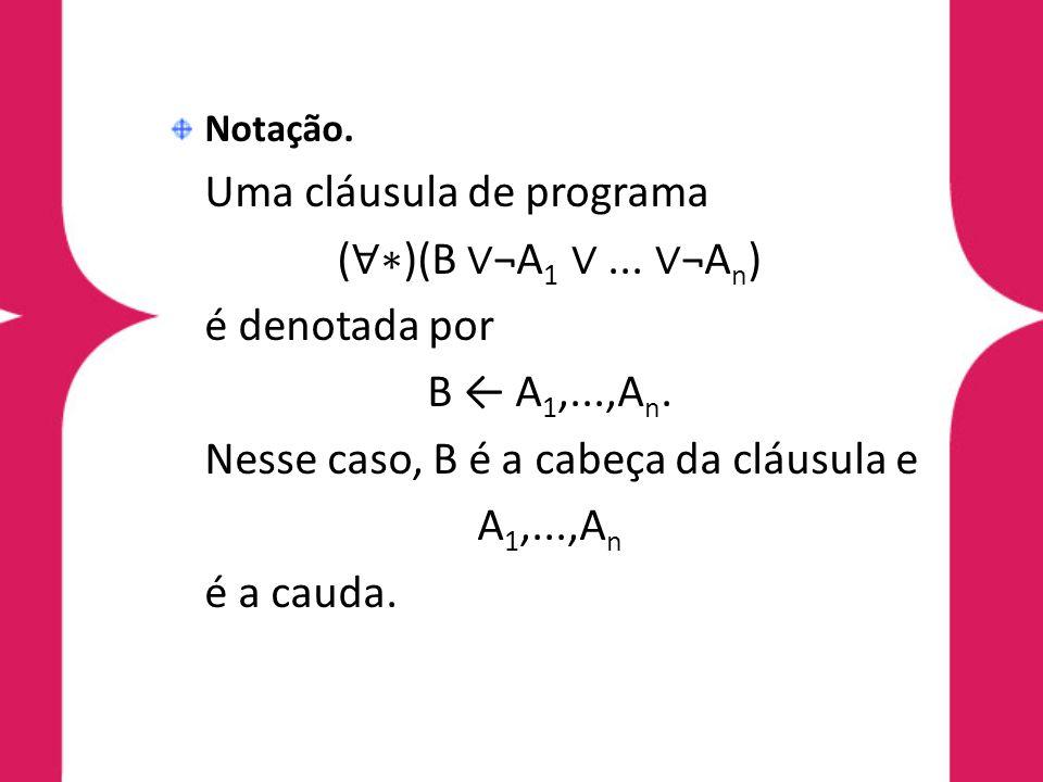 Nesse caso, B é a cabeça da cláusula e A1,...,An é a cauda.