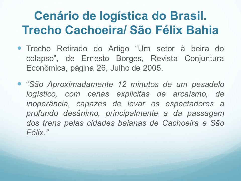 Cenário de logística do Brasil. Trecho Cachoeira/ São Félix Bahia