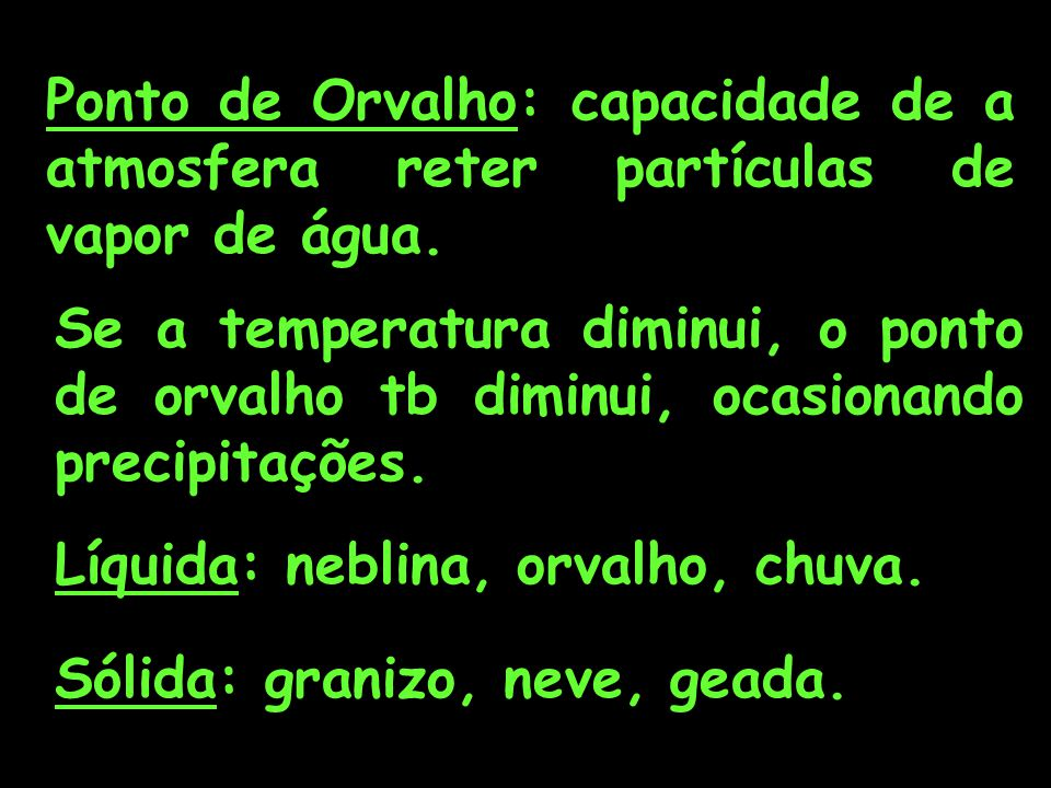 Ponto de Orvalho: capacidade de a atmosfera reter partículas de vapor de água.