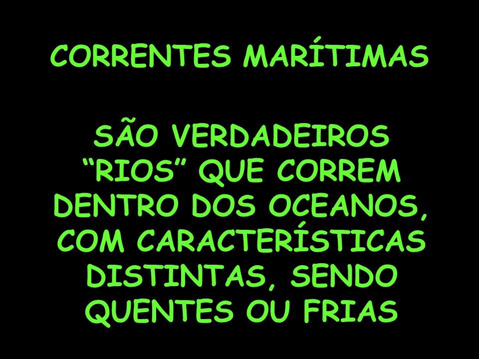 CORRENTES MARÍTIMAS SÃO VERDADEIROS RIOS QUE CORREM DENTRO DOS OCEANOS, COM CARACTERÍSTICAS DISTINTAS, SENDO QUENTES OU FRIAS.