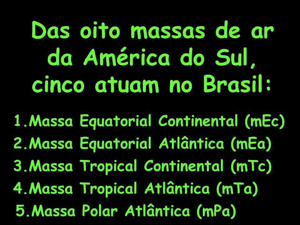 Das oito massas de ar da América do Sul, cinco atuam no Brasil: