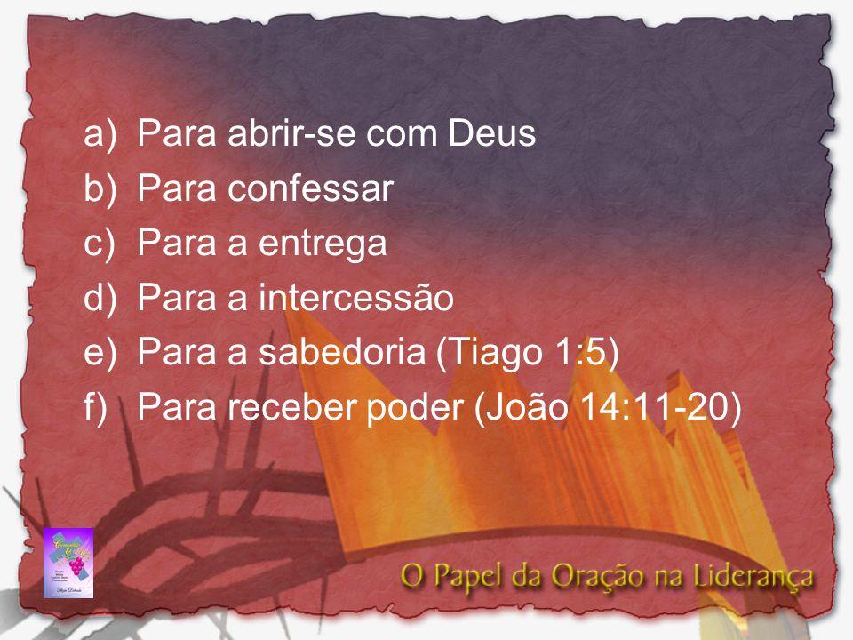 a) Para abrir-se com Deus