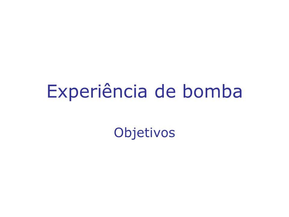 Experiência de bomba Objetivos