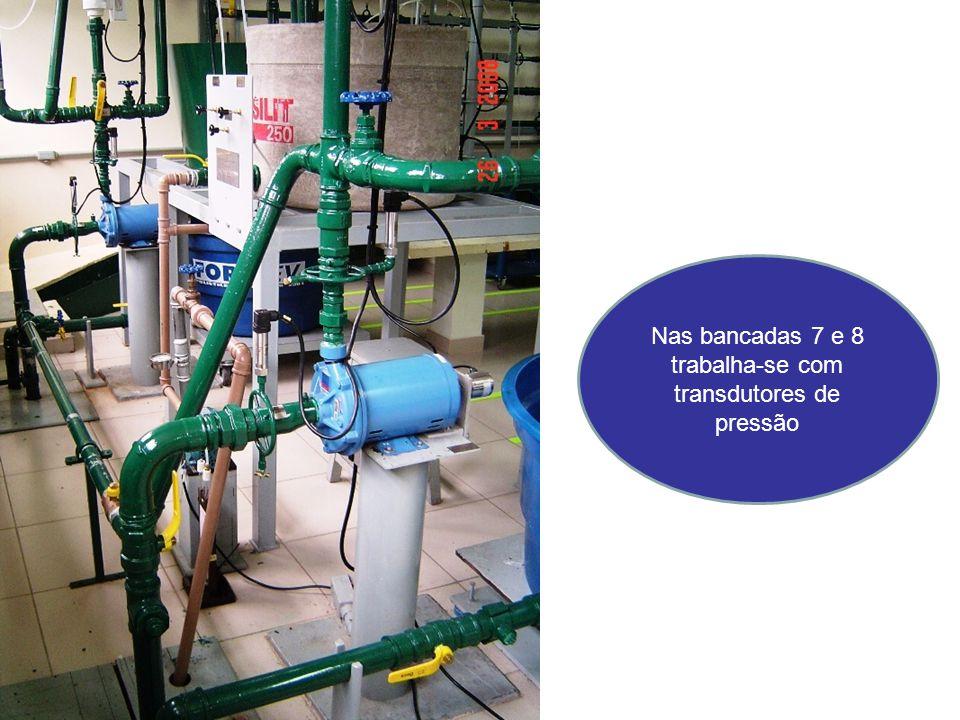 Nas bancadas 7 e 8 trabalha-se com transdutores de pressão
