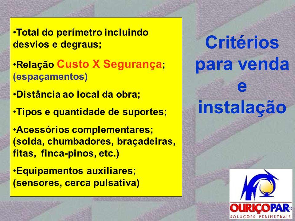 Critérios para venda e instalação