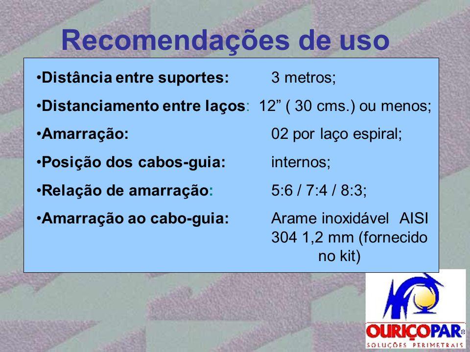 Recomendações de uso Distância entre suportes: 3 metros;