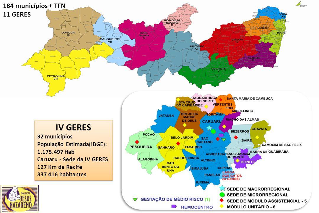 IV GERES 184 municípios + TFN 11 GERES 32 municípios