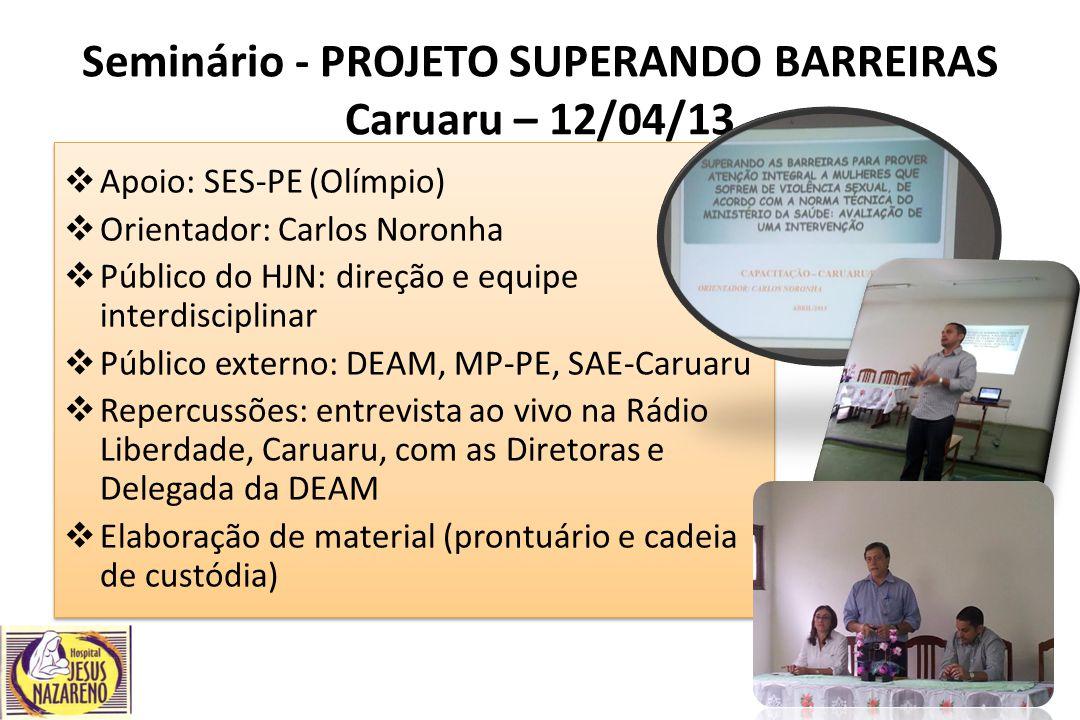 Seminário - PROJETO SUPERANDO BARREIRAS Caruaru – 12/04/13