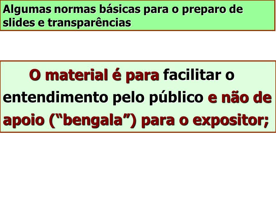 Algumas normas básicas para o preparo de slides e transparências