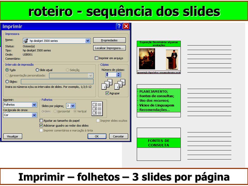 roteiro - sequência dos slides