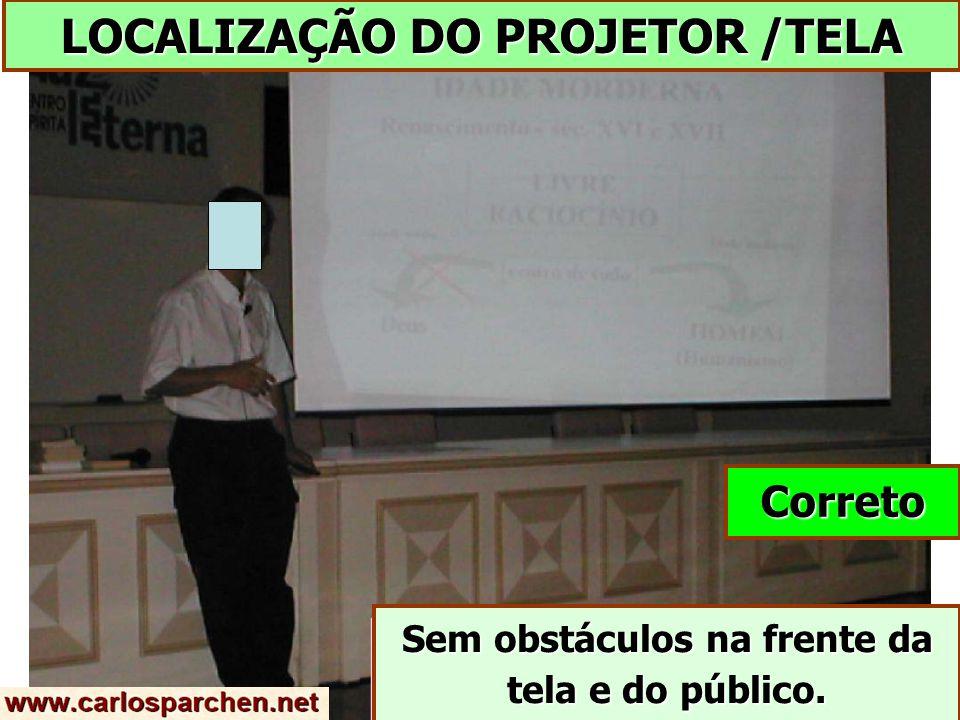 LOCALIZAÇÃO DO PROJETOR /TELA