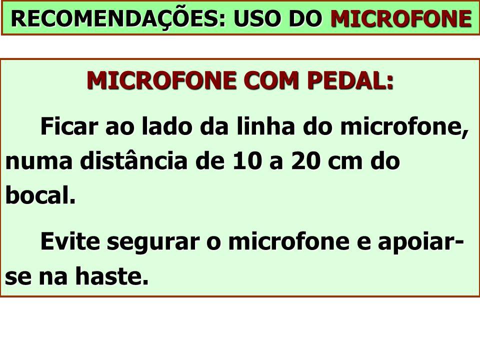 RECOMENDAÇÕES: USO DO MICROFONE