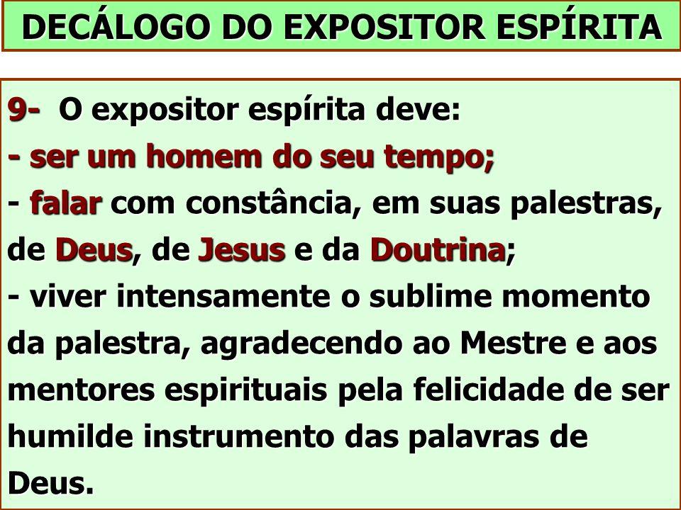 DECÁLOGO DO EXPOSITOR ESPÍRITA