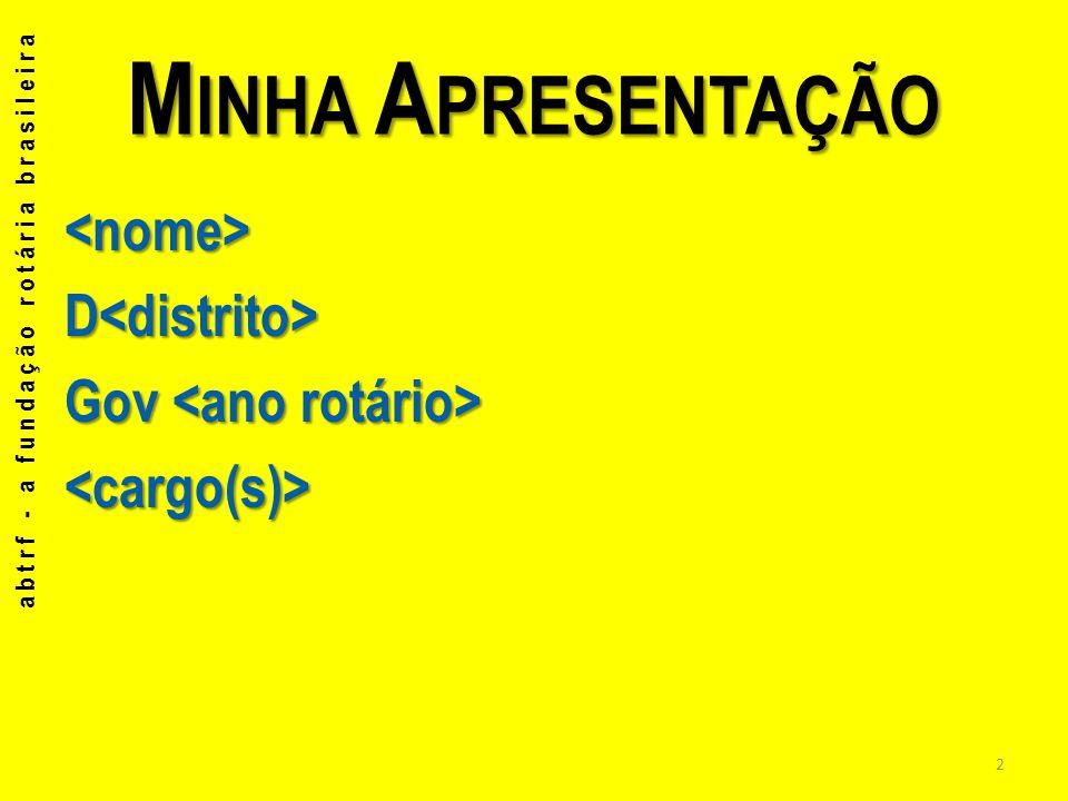 Minha Apresentação <nome> D<distrito> Gov <ano rotário> <cargo(s)> abtrf - a fundação rotária brasileira.