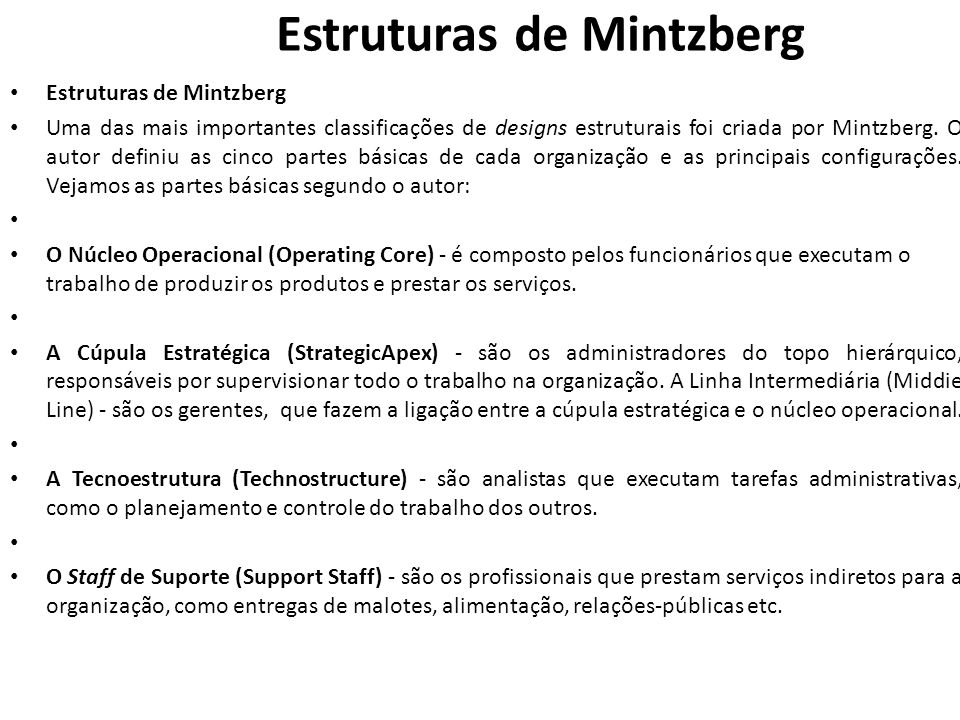 Estruturas de Mintzberg