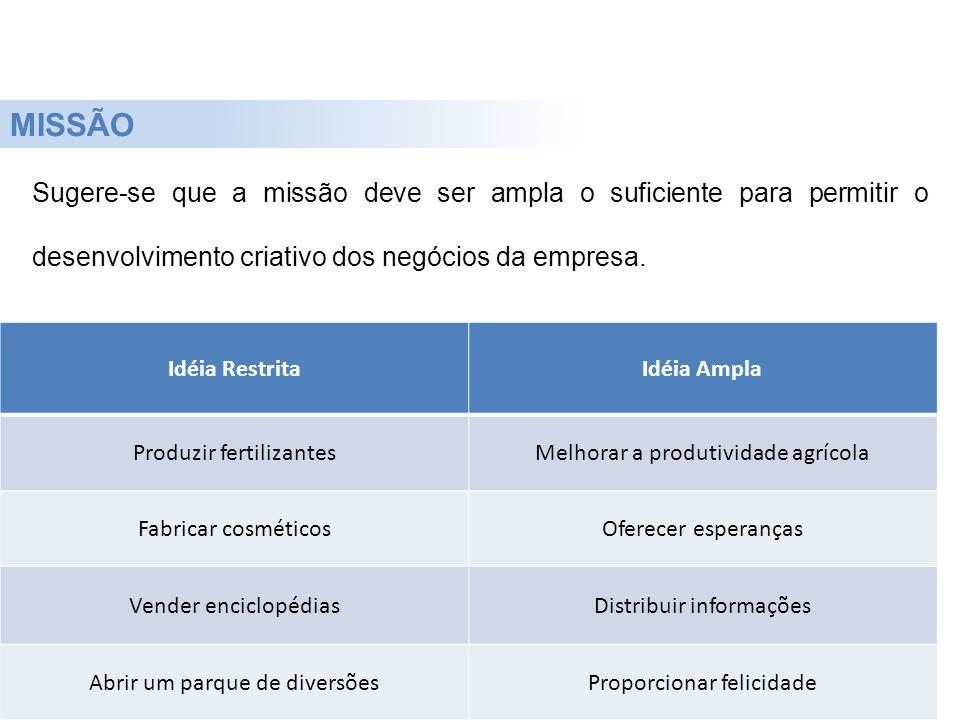 MISSÃO Sugere-se que a missão deve ser ampla o suficiente para permitir o desenvolvimento criativo dos negócios da empresa.