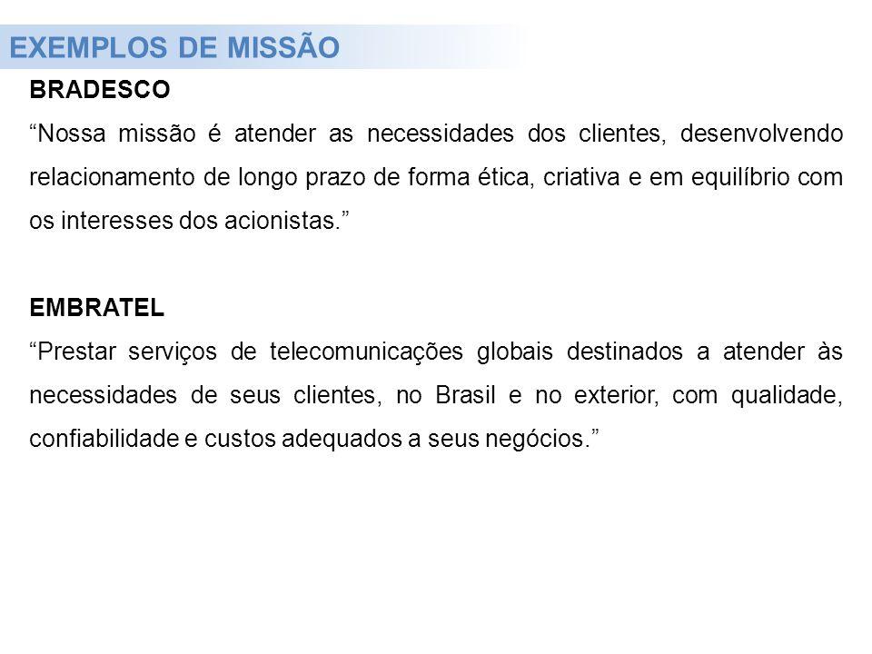 EXEMPLOS DE MISSÃO BRADESCO