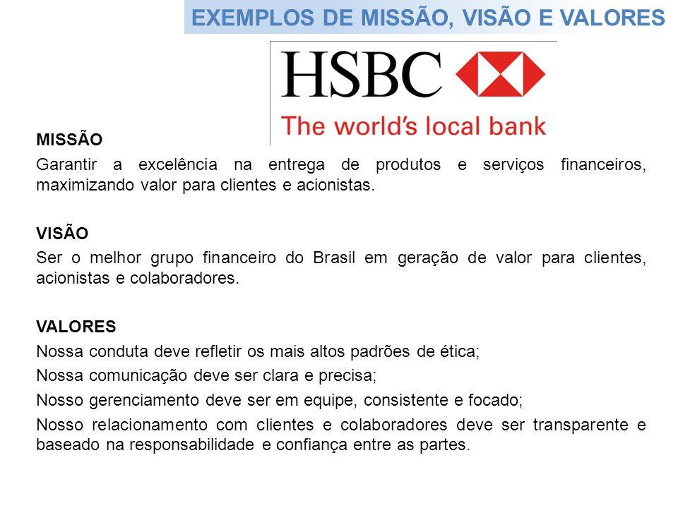 EXEMPLOS DE MISSÃO, VISÃO E VALORES