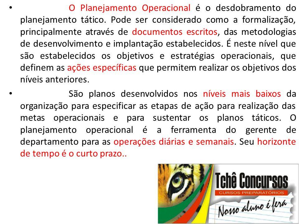 O Planejamento Operacional é o desdobramento do planejamento tático