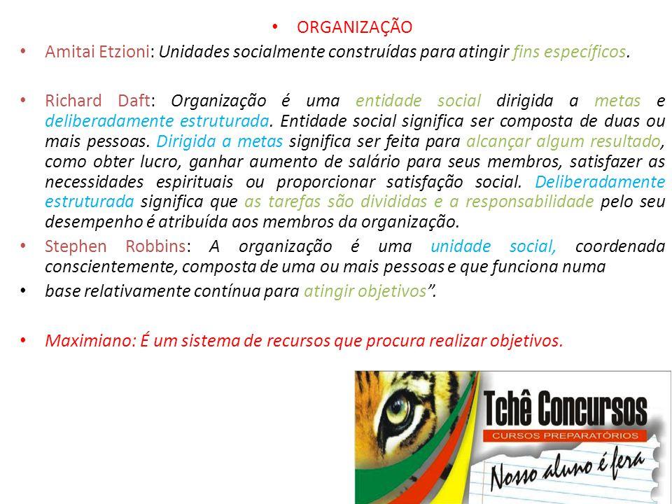 ORGANIZAÇÃO Amitai Etzioni: Unidades socialmente construídas para atingir fins específicos.