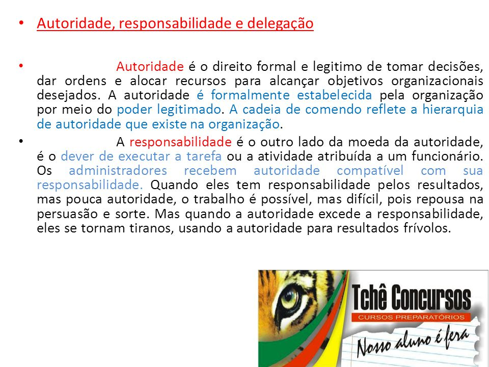 Autoridade, responsabilidade e delegação