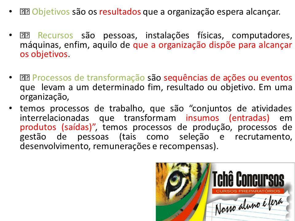  Objetivos são os resultados que a organização espera alcançar.