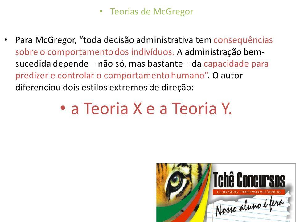 a Teoria X e a Teoria Y. Teorias de McGregor