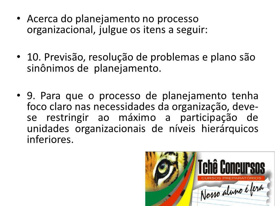 Acerca do planejamento no processo organizacional, julgue os itens a seguir: