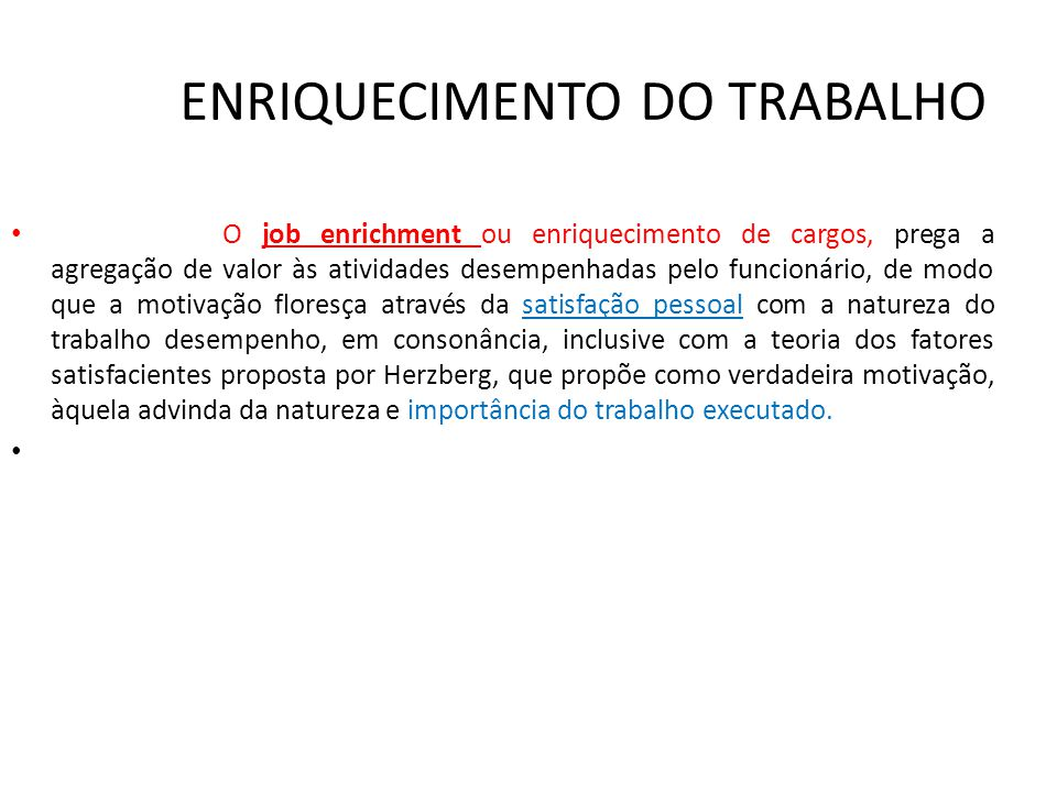 ENRIQUECIMENTO DO TRABALHO