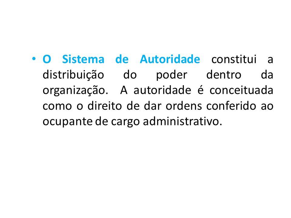O Sistema de Autoridade constitui a distribuição do poder dentro da organização.