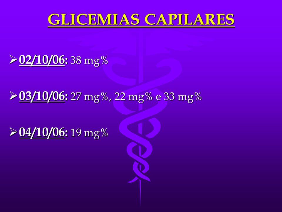 GLICEMIAS CAPILARES 02/10/06: 38 mg% 03/10/06: 27 mg%, 22 mg% e 33 mg%