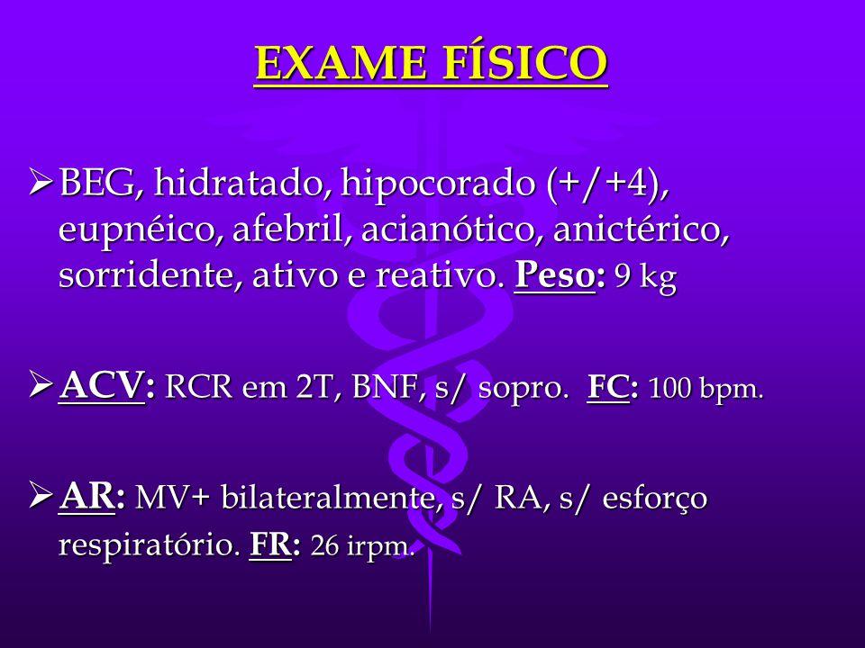 EXAME FÍSICO BEG, hidratado, hipocorado (+/+4), eupnéico, afebril, acianótico, anictérico, sorridente, ativo e reativo. Peso: 9 kg.